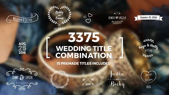 Anniversary wedding titles ~ Elegant wedding title combination pack template and logos