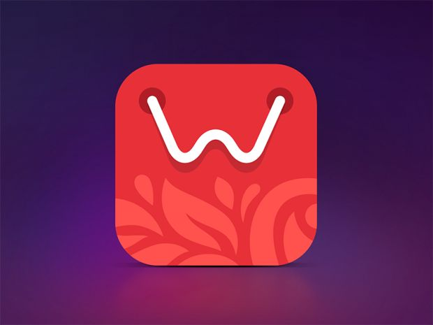 This app is very attractive. I like how the 'w' is not just centered like most other apps out there. The little leave illustration looks nice underneath the letter and effectively uses space. The typeface of the 'w' also looks elegant and chic.