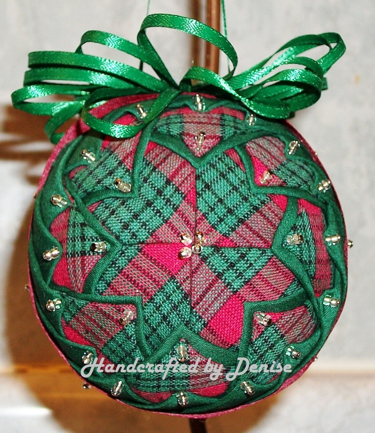 Grandmother's Quilt ~ Plaid   --    Handcrafted by Denise ~ quilted fabric ornaments