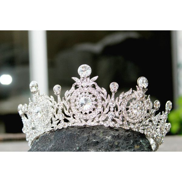 Bridal Crown, Swarovski Crystal Wedding Crown, TANYA Edwardian Crystal... ($449) ❤ liked on Polyvore featuring accessories, hair accessories, floral hair accessories, tiara crown, crown tiara, crystal tiaras crowns and floral crowns