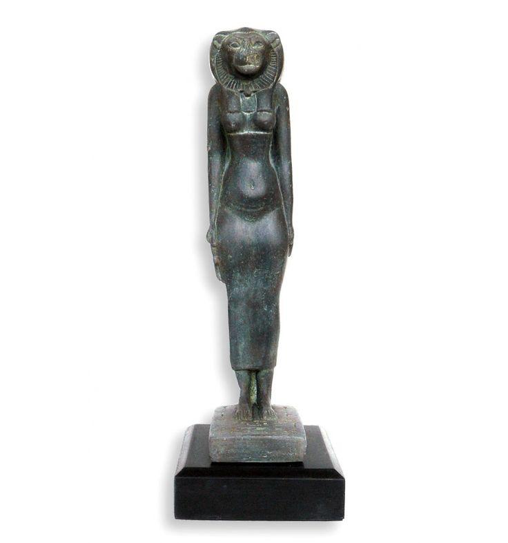 Figura de artesanía de la Diosa Sekhmeth. La poderosa, el ojo fiero de Ra. Reproducción arqueológica de figura de arte egipcio. Ideal para un regalo exclusivo.