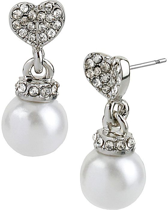 Crystal Heart Pearl Earring Accessories Jewelry Earr Betsey S Baubles By Johnson Pinterest Earrings Pearls And Crystals
