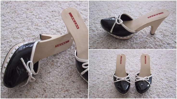 Authentic PRADA Women Mules Shoe Black Patent Leather w/Wood Heel Sz-37(US 7.5)  #PRADA #Mules