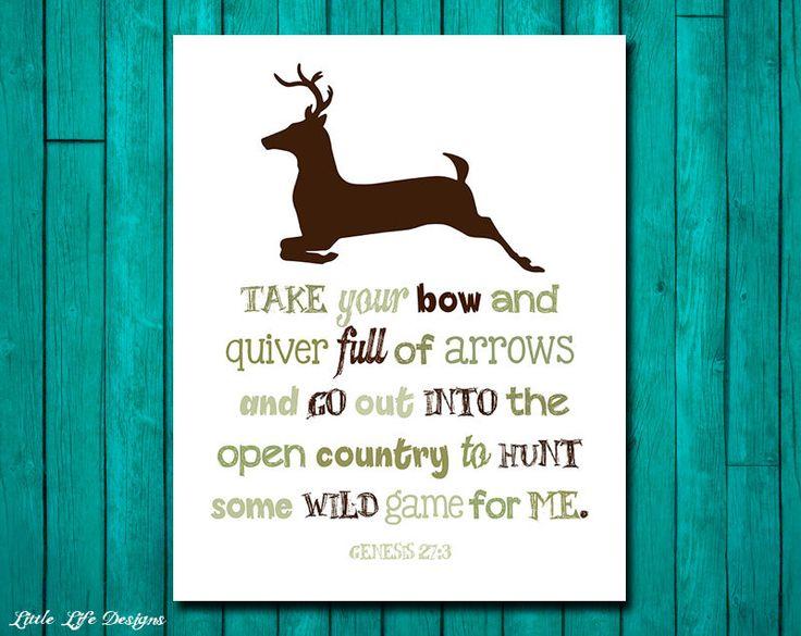Hunting Nursery Decor. Genesis 27:3. Deer Hunting Decor