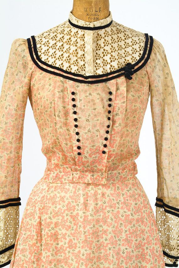 Antique 1890's Dress - Coral Feedsack Cotton Print 19th Century Dress with Black…