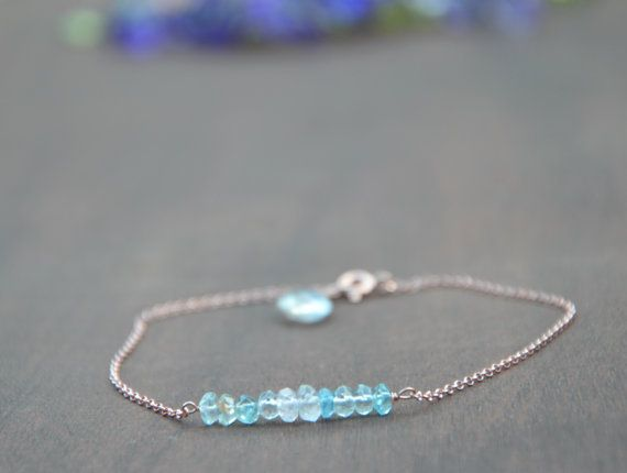 Hand made beads and chain bracelet 925 sterling silver rose gold plated chain,clasp and wire used made with faceted rondelle Aquamarine gem stone beads  This bracelet is made with fine quality aquamarine faceted rondelle beads. I have used rose gold plated 925 sterling silver chain and clasp, aquamarine bracelet, rose gold bracelet, sterling silver bracelet, beaded bracelet, chain bracelet, charm bracelet