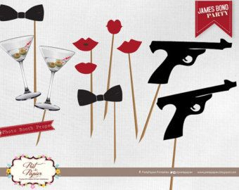 James Bond Photo Booth printables                                                                                                                                                                                 Plus