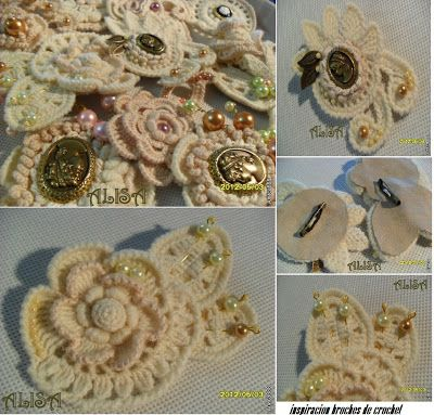 Patrones de Crochet: broches: Hook, Beads Crochet, Patterns, Pin, Bellos Broches, Broch De, Inspiracion Bellos, Patrones Crochet, Bello Broch