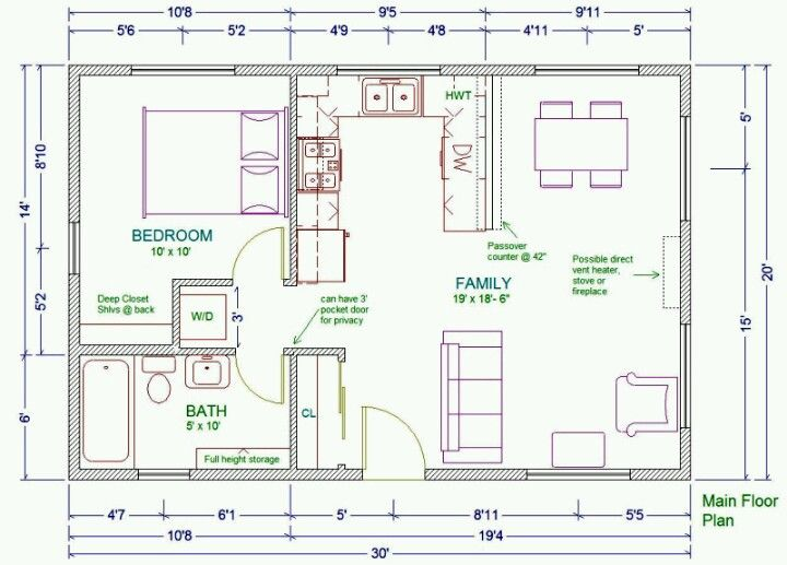 20x30 guest house plans guest pool houses pinterest Pool house floor plans free