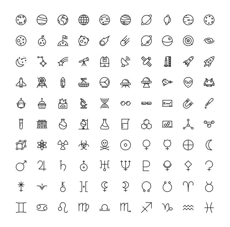 The Space & Science Icons 100 von The Store auf dem Kreativmarkt – #creativemarket …