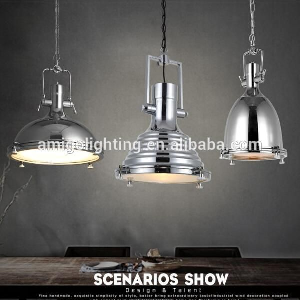 Loft vintage industrial hanging pendant light yp815 yp817 yp818 in chrome