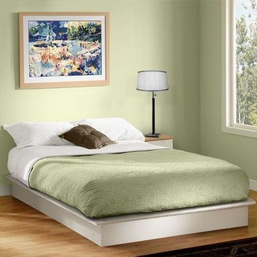 white queen size platform bed contemporary frame modern bedroom furniture home - White Queen Size Bed Frame