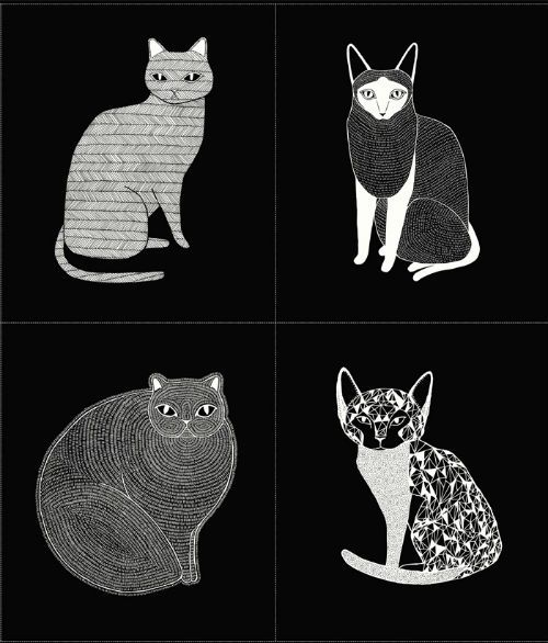 """Catnip - Cat Portrait - Black - 36"""" Panel"""