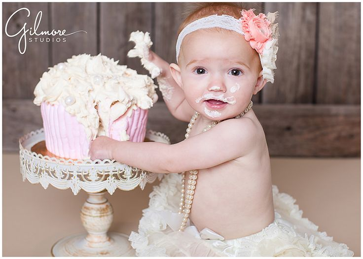 Vintage Theme One Year Old Cake Smash Newport Beach Baby