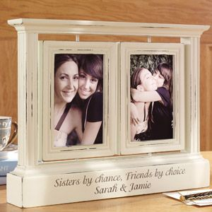 """Personalized Rotating Double Photo Frame $24.00 at walmart.com.   Made of wood.   Holds two 4"""" x 6"""" photos.   Overall dimensions: 11"""" x 13-1/2"""".   Personalize with any two-line message, up to 40 characters per line."""