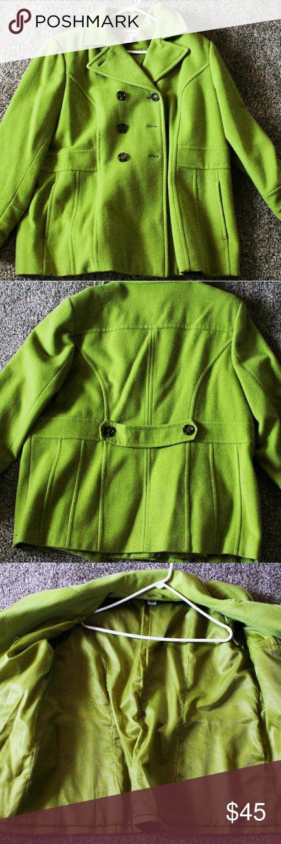 Green Plus Size Peacoat Super soft plus size peacoat; Light Spring Green color; Size 1x; Like New Condition St. John's Bay Jackets & Coats Pea Coats