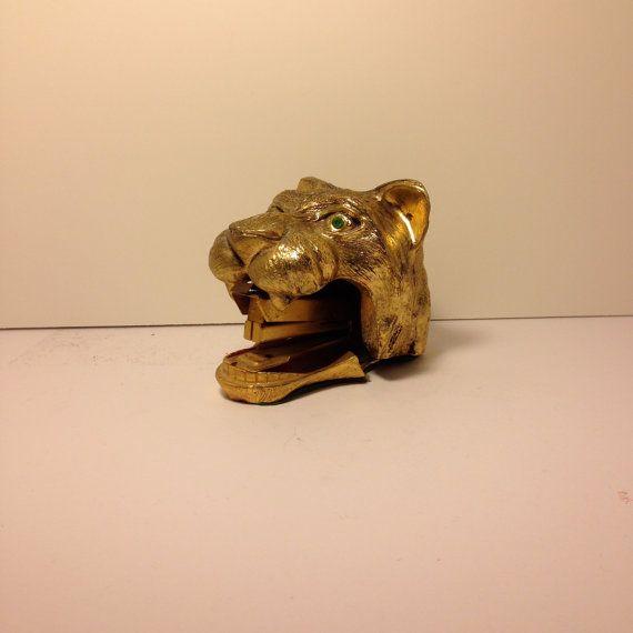 Brass Tiger Stapler Rare Unique Vintage Item By