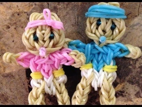 Rainbow Loom BABY GIRL or BOY (Easy). Designed and loomed by Marlene Barressii of MarloomZ Creations. Click photo for YouTube tutorial.