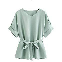 585804c598 Milumia Women's V Neckline Self Tie Short Sleeve Blouse Tops Mint Small