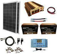 WindyNation 200 Watt (2pcs 100 Watt) Solar Panel Kit + 1500W Power Inverter + 200ah 12 Volt AGM Deep Cycle Battery Bank for RV, Boat, Off-Grid