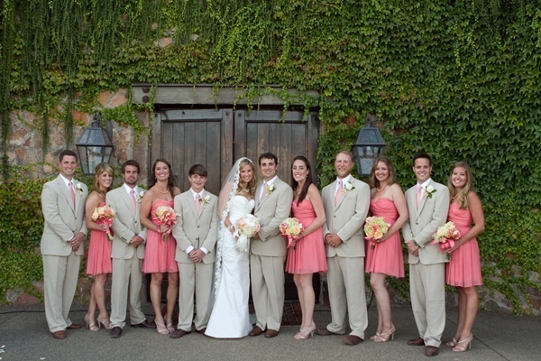 Coral Khaki Wedding Party