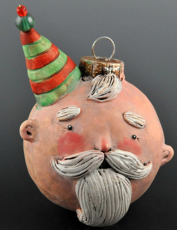 Santa Noggin Christmas Ornament by uncommoncreatures ~ He looks just like Burl Ives from the Rudolph cartoon! Love it!