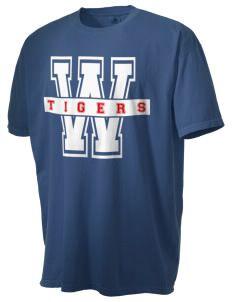 Wells Elementary School Tigers Menu0027s Pigment Dyed Vintage Large Print T  Shirt
