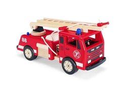 Brannbil  Denne tøffe og detaljrike brannbilen i tre er guttas favoritt.  Stigen kan forlenges, dørene kan åpnes og brannslangen kan rulles ut. Her er mulighetene for rollespill uendelige!  Størrelse: 16 x 45 x 22 cm  3 +    PINTOY  PINTOY® produserer et bredt spekter av tradisjonelle treleker av høy kvalitet hvor fokuset er rettet mot barns læring i lek. Pintoys leker er designet med sterke farger og funksjonelle former for å stimulere barnas utvikling.
