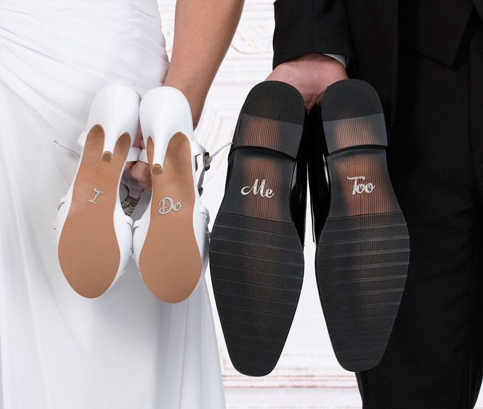 "This pair of silver ""I Do"" and ""Me Too"" shoes stickers make a cute gift for the bride and groom. Sizes: Each word measures .75 inches tall. The ""I"" is .25 inches wide, the ""Do"" is 1 inch wide, the ""Me"