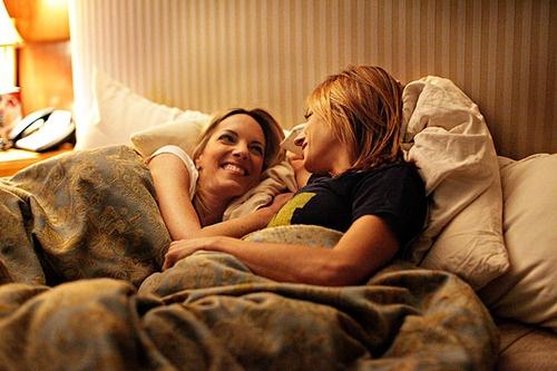 Lesbian girl loves to enjoy in bed, sexy mulattos