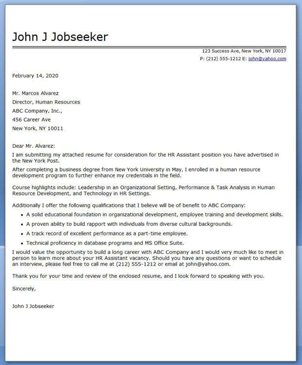 Human Resource Generalist Cover Letter