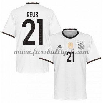 Günstige Fußballtrikots Deutschland Nationalmannschaft 2016 Reus 21 Heimtrikot Kurzarm