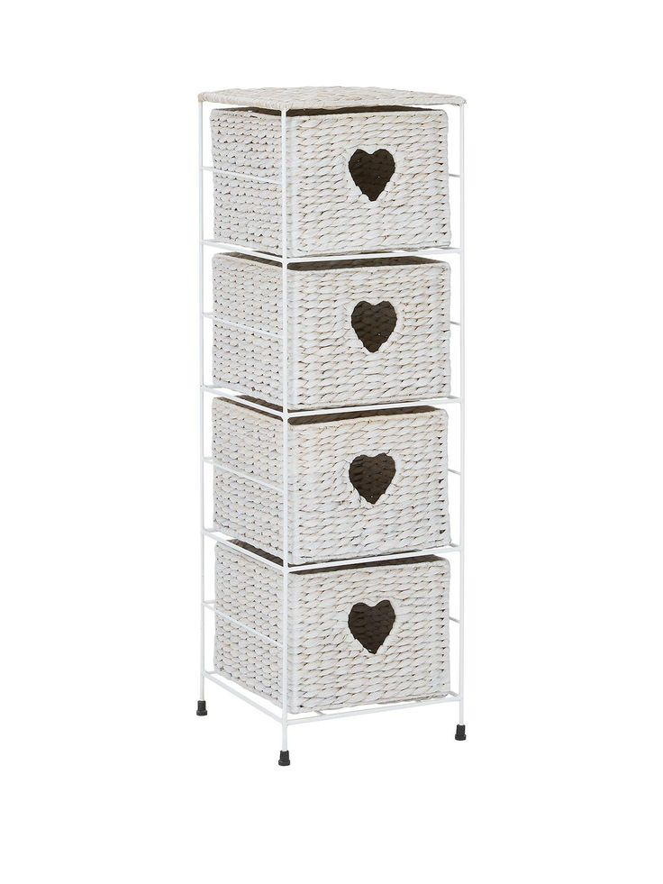 Unbranded Paris 4 Drawer Storage Unit Flaunting charm and style, the Paris storage collection is ideal for bringing a hint of European romance to your space. In white, this 4-drawer unit is woven from water hyacinth and is perfect for spare bedding, towels or even to keep all your toiletries organised. Finished with delightful heart shaped handles, they're a charming finishing touch for any bedroom. Match with other items in the collection to complete the look: - 2-piece Laundry and Waste…
