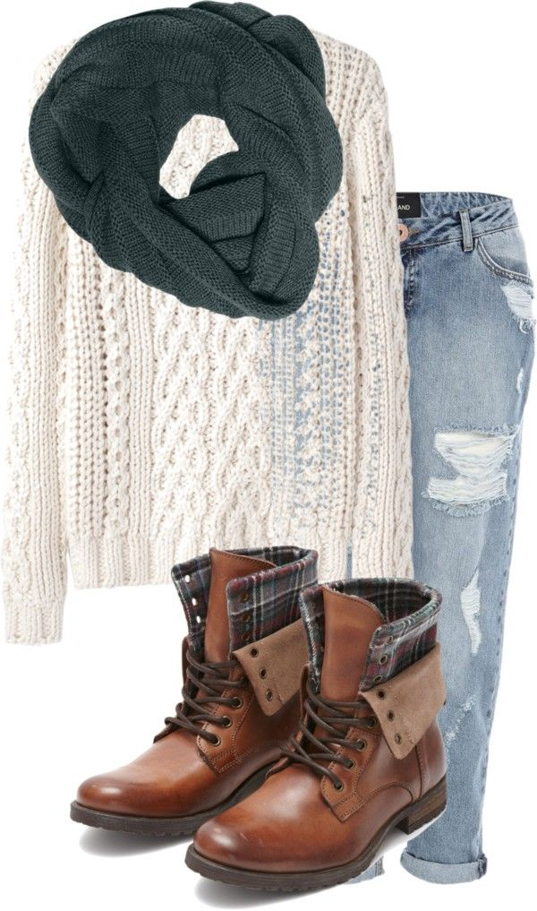 Cable Knit Sweater, chunky scarf, Boyfriend Jeans and Leather Boots  //winter fashion\. Find this Pin and more on Camel Combat boots outfits ...