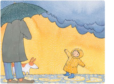 'Dance in the Rain', limited edition print by Alison Lester.  From picture book 'Kissed by the Moon' (Penguin Books).   Available at Books Illustrated.