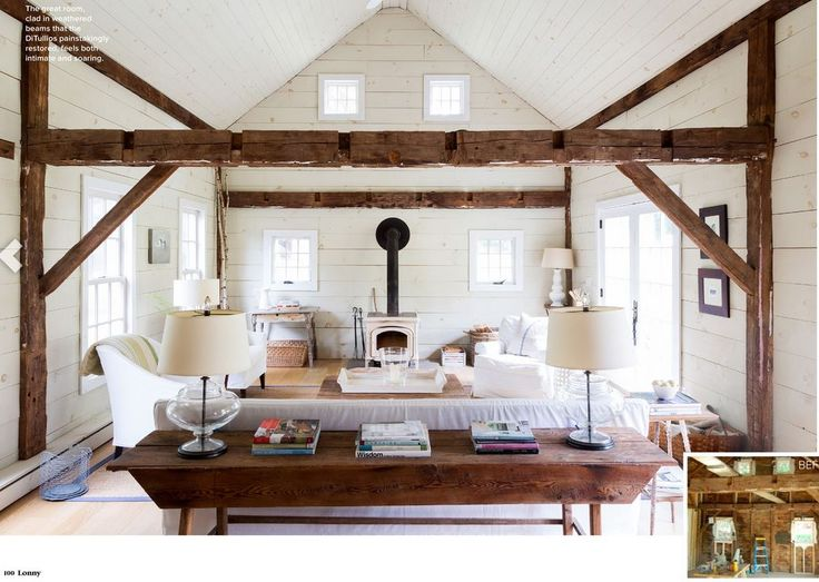 Lake house exposed beam living room cathedral ceiling for Cathedral ceiling beams