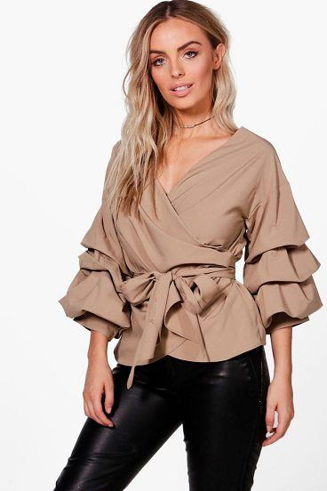 Amelie Ruffle Tiered Sleeve Wrap Top by Boohoo. Steal the style top spot in a statement separate from the tops collectionCamis or crops, bandeaus or bralets, we've got all the trend-setting tops so you can stay statement in separates this season. Hit refresh on your jersey basics with... #boohoo