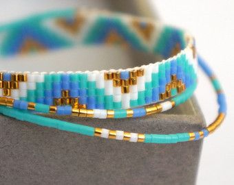 Set of 4 Miyuki beaded bracelets handmade   Gold by YRSarmcandy