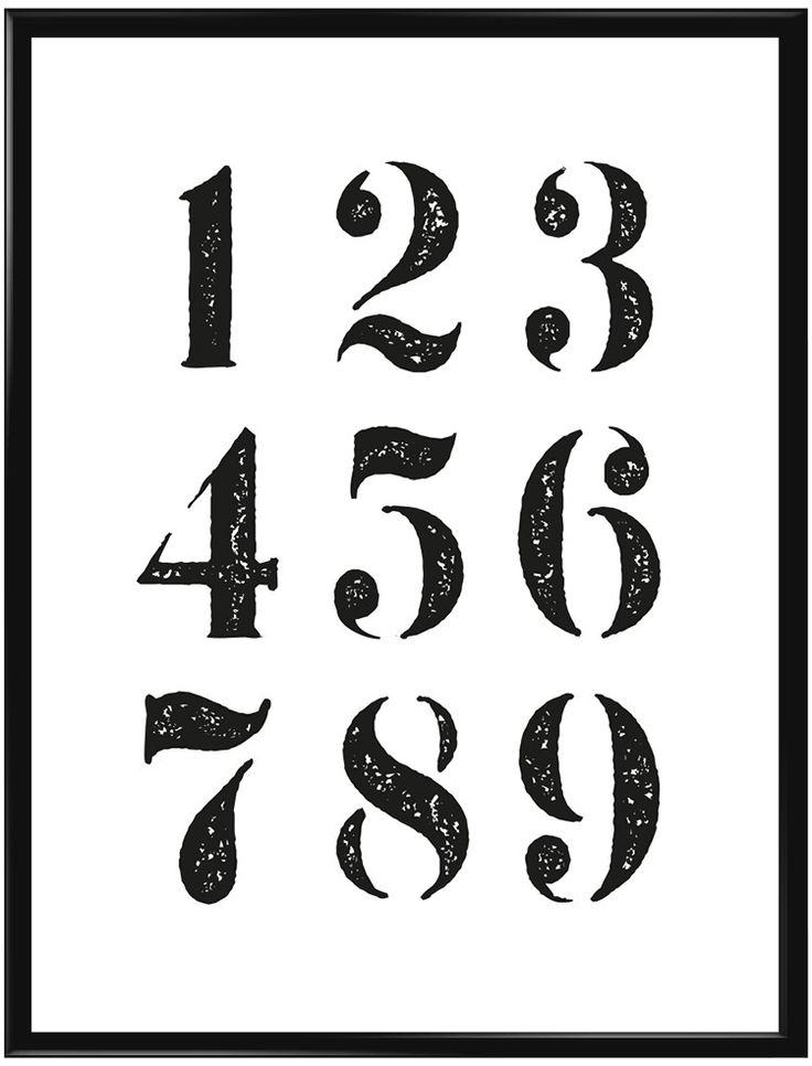 Stilren poster med stilrena siffror i Shabby Chic. Siffrorna är listade från 1-9…