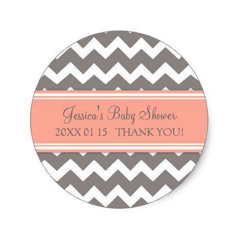 Coral Grey Chevron Baby Shower Favor Stickers #chevron #craft #supplies