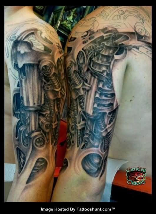 3d biomechanical alien tattoo on half sleeve tattoos. Black Bedroom Furniture Sets. Home Design Ideas