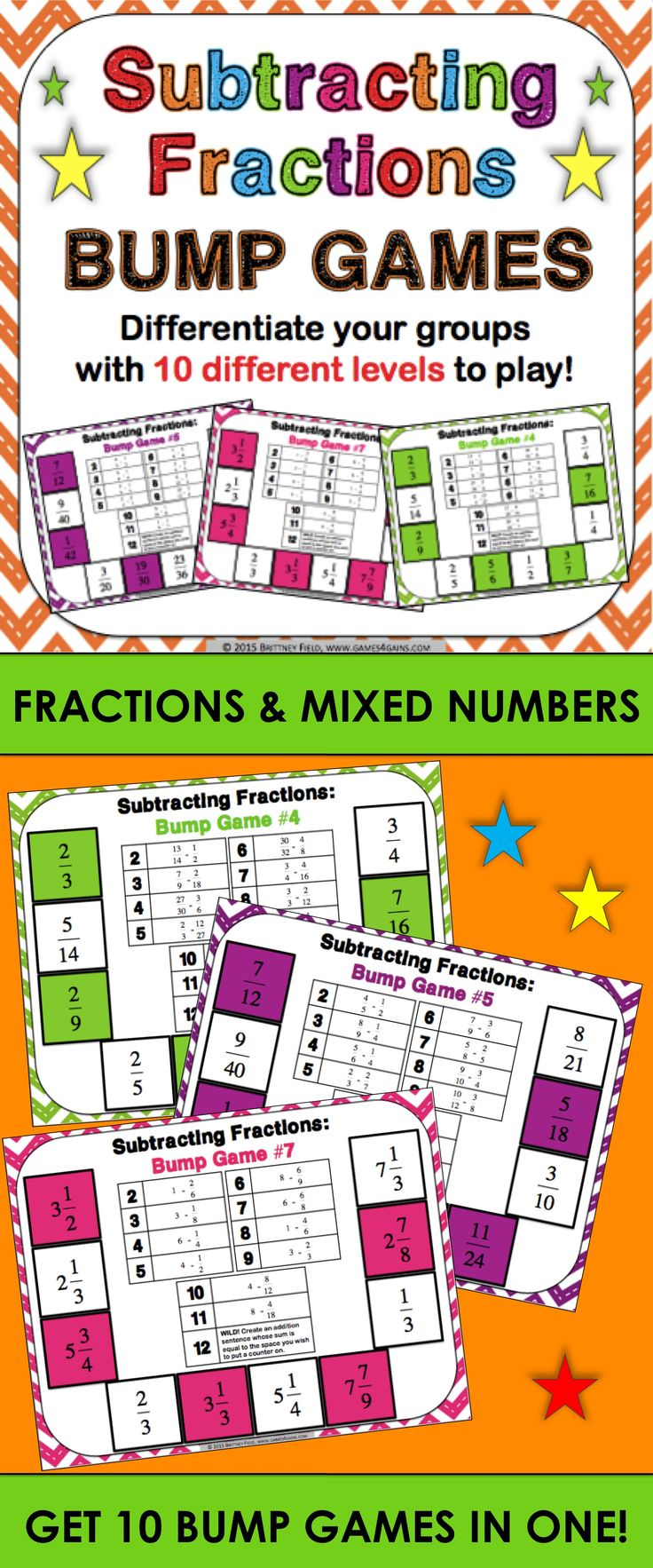 Subtracting Fractions Bump Games contains 10 different games to help students practice subtracting fractions and mixed numbers with like and unlike denominators. As students work through the games, each one ramps up in difficulty. This means that you can have all of your students working at their appropriate level when using this set!