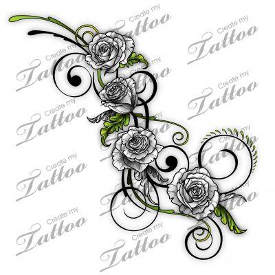 Marketplace Tattoo SBink Grey and Green Rose Vine #12722 | CreateMyTattoo.com - hint of green