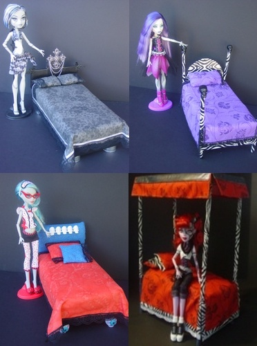Monster High Dolls House Beds. I actually made one of these. It didn't turn out bad. I just wish I had waited and seen a lot more before going after it. Still pretty. Just I made it too big!!!