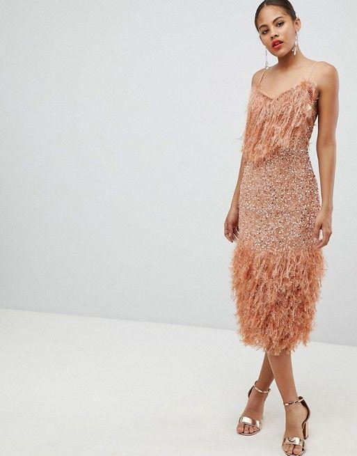6c53edb85455 DESIGN Tall feather effect trim sequin midi bodycon dress in 2019 ...
