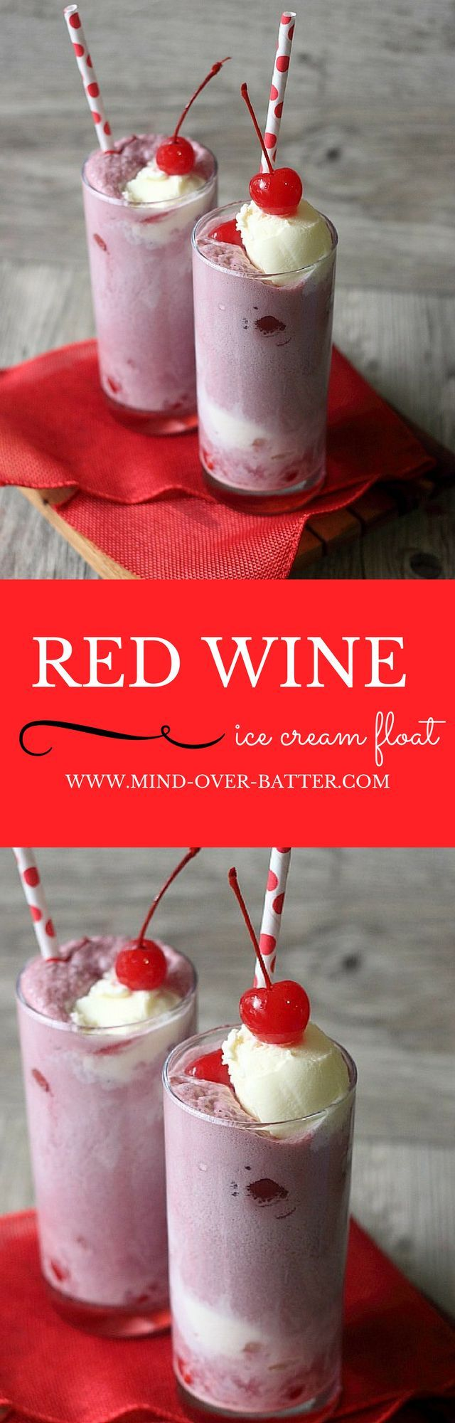 Sparkling red wine, maraschino cherries, and vanilla ice cream. These 3 ingredients make up this deliciously boozy ice cream float. Perfect for your next Girls Night! http://www.mind-over-batter.com
