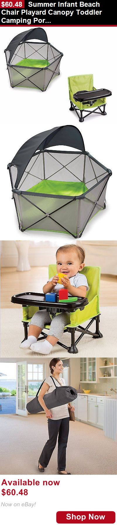 Booster Chairs: Summer Infant Beach Chair Playard Canopy Toddler Camping Portable Booster Bundle BUY IT NOW ONLY: $60.48
