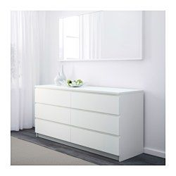 IKEA - MALM, Chest of 6 drawers, white, , Smooth running drawers with pull-out stop.If you want to organise inside you can complement with SKUBB box, set of 6.