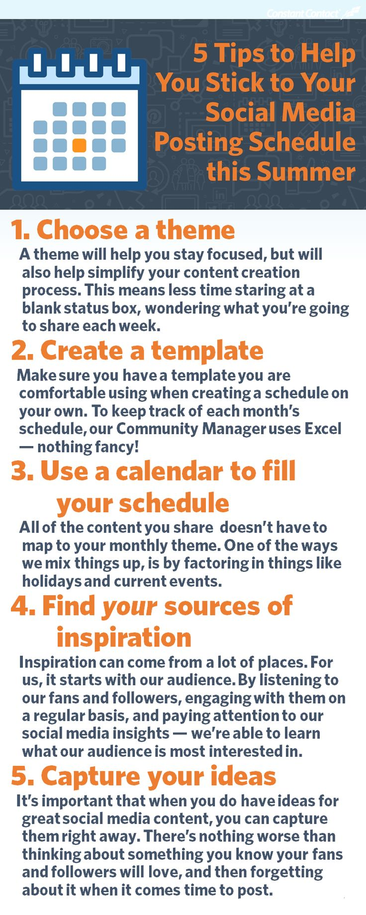 Having a schedule is one thing; following through with it is something completely different. Here's a few tips we've learned along the way: http://blogs.constantcontact.com/product-blogs/social-media-marketing/social-media-schedule/?CC=SM_PIN