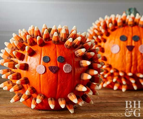 Making this cute hedgehog no-carve pumpkin means no knives, no mess, and no pumpkin guts.